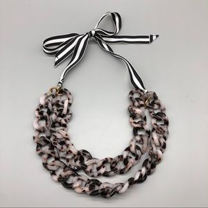 J. Crew tortoise shell resin and ribbon necklace
